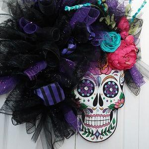 greenirishmoon Holiday - Sugar skull day of the dead wreath wall hanging
